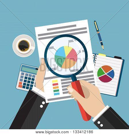 Cartoon businessman hands with magnifier analysis paper sheet, calculator, pen. auditing tax, financial market analysis, seo, financial report. vector illustration in flat design