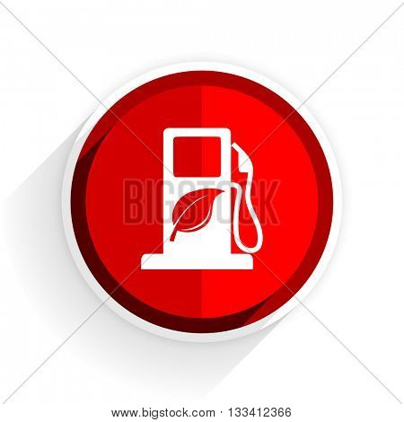 biofuel icon, red circle flat design internet button, web and mobile app illustration
