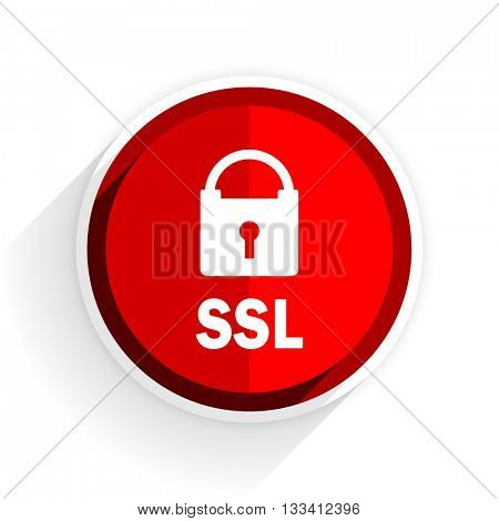 ssl icon, red circle flat design internet button, web and mobile app illustration
