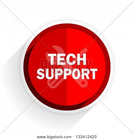 technical support icon, red circle flat design internet button, web and mobile app illustration