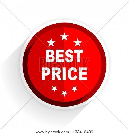 best price icon, red circle flat design internet button, web and mobile app illustration