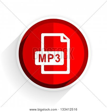 mp3 file icon, red circle flat design internet button, web and mobile app illustration