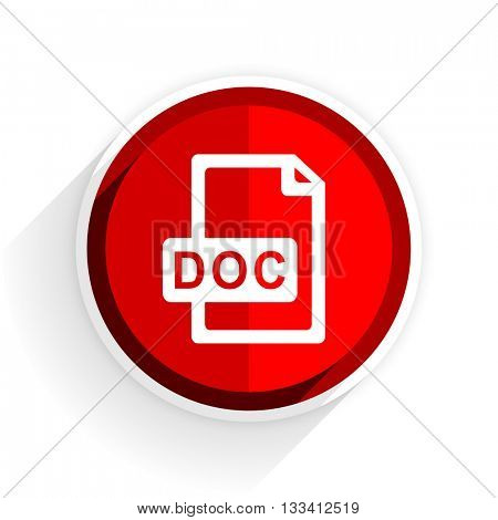 doc file icon, red circle flat design internet button, web and mobile app illustration