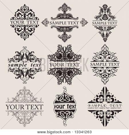 Set Of Nine Ornate Banner Text Quad