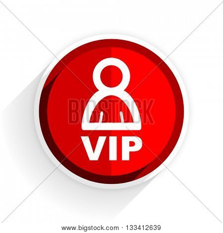 vip icon, red circle flat design internet button, web and mobile app illustration