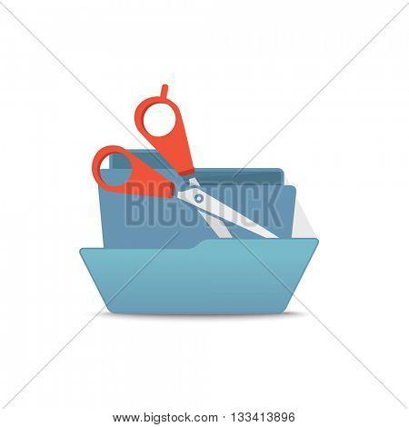Computer interface folder vector illustration. Open folder isolated on white. Scissors
