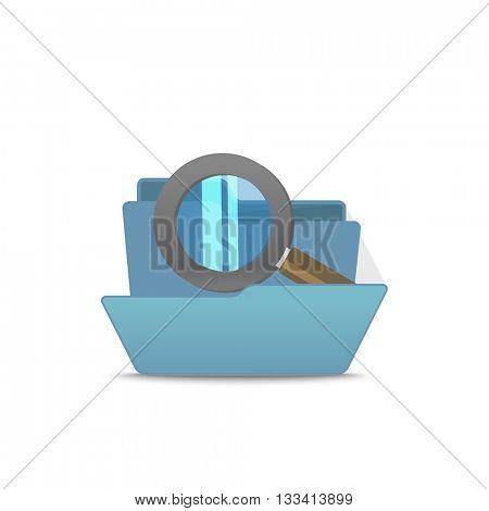 Computer interface folder vector illustration. Open folder isolated on white. Find files