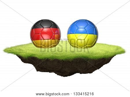 Germany and Ukraine team balls for football championship tournament, 3D rendering