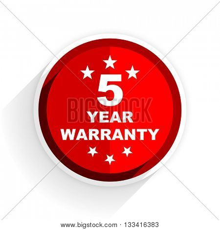 warranty guarantee 5 year icon, red circle flat design internet button, web and mobile app illustration
