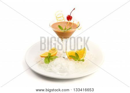 Coctail Pinacolada with fresh pina juice on a white background