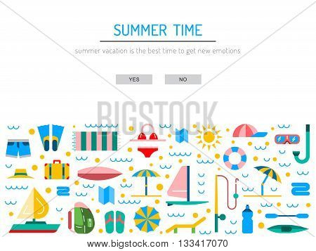 Icons set for summer holiday and travel. Elements on the theme of summer travel trekking vacation weekend beach vacation.