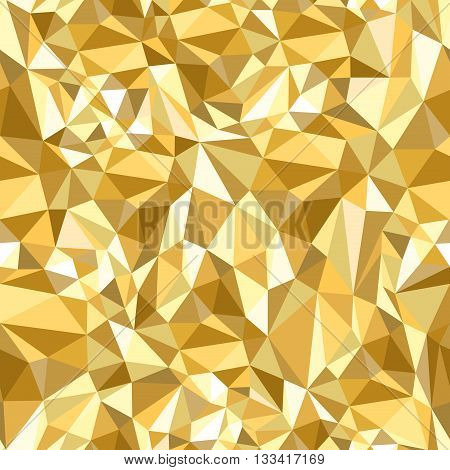 Golden triangles mosaic pattern. Geometric low poly ornament seamless in any direction. Abstract repeatable background. Vector illustration.