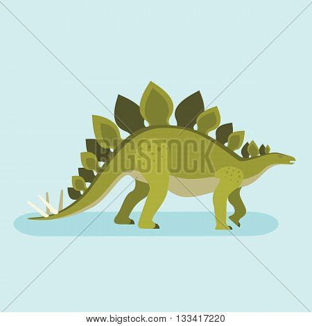 Stegosaurus icon. Spiny lizard. Prehistoric herbivore dinosaur. Extinct animal. Trendy flat vector illustration.