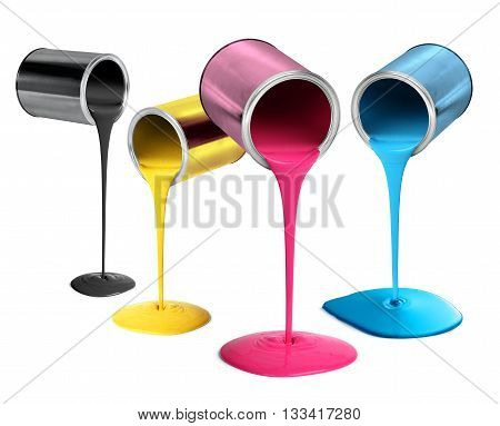 Metal tin cans pouring cyan magenta yellow black paint isolated on white