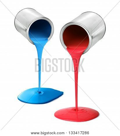 Metal tin cans pouring red and blue paint isolated on white