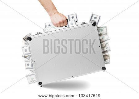briefcase full of money a man hold on hand.