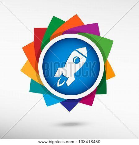Rocket Icon Color Icon, Vector Illustration.