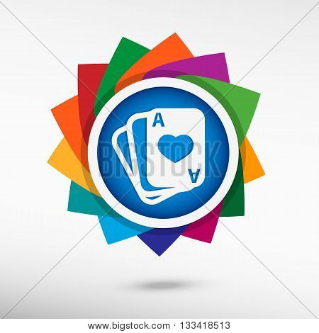 Game Cards Color Icon, Vector Illustration