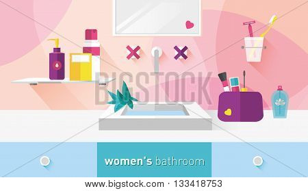 vector illustration bathroom for women menthol and red shades
