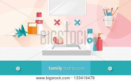 vector illustration of a family bathroom in menthol and red shades