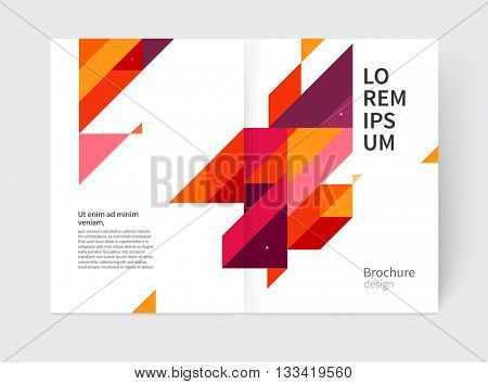 Minimalistic White cover Brochure design. Booklet, annual report cover template. modern Geometric Abstract background. Purple, yellow and red diagonal lines & triangles. vector-stock illustration