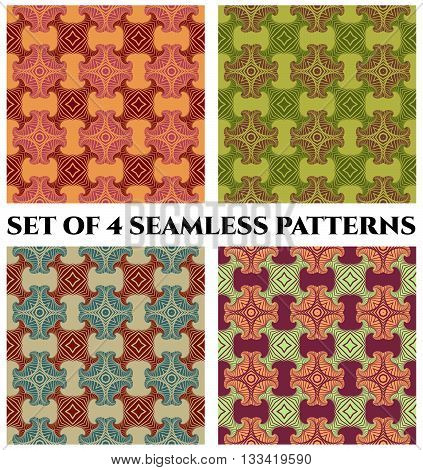 Abstract fashionable retro seamless patterns with decorative ornament of orange red violet green and blue shades