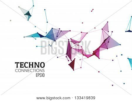 Abstract vector background. Futuristic style card. Background for business presentations. Molecular structure. Lines point planes in 3d space. Cybernetic dots creative banner.