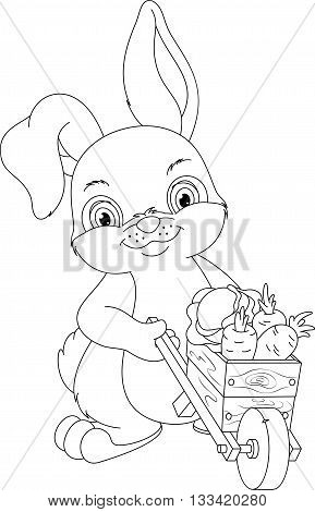 Rabbit with wheelbarrow full of vegetables, coloring page