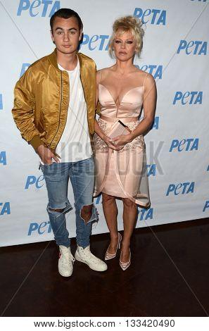 LOS ANGELES - JUN 7:  Brandon Lee, Pamela Anderson at the Peta Celebrates Prince on his Birthday at the Peta's Bob Barker Building on June 7, 2016 in Los Angeles, CA
