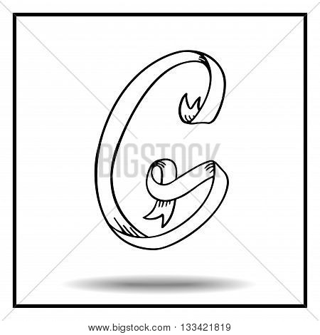 Ribbon alphabet. Ribbon letter. Ribbon G. Display ribbon font. Sketch ribbon latter G.