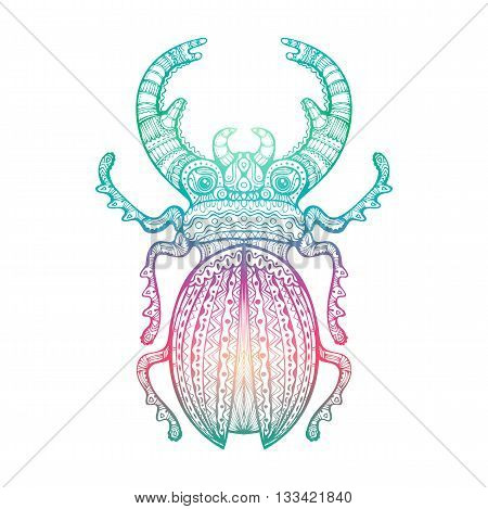 Decorative Stag Beetle. Lacy fancy insect hand drawn zentangle art gradient colored isolated design element. Vector illustration.
