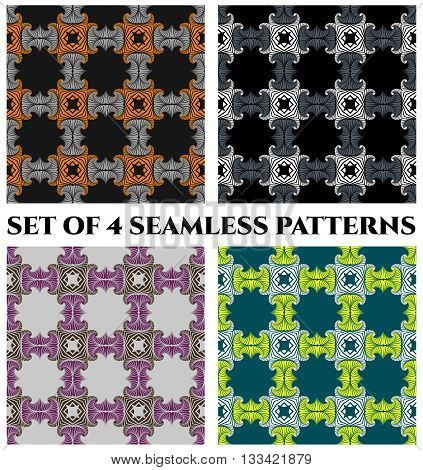 Abstract trendy seamless patterns with decorative ornament of black, orange, grey, white, brown, violet, teal and green shades