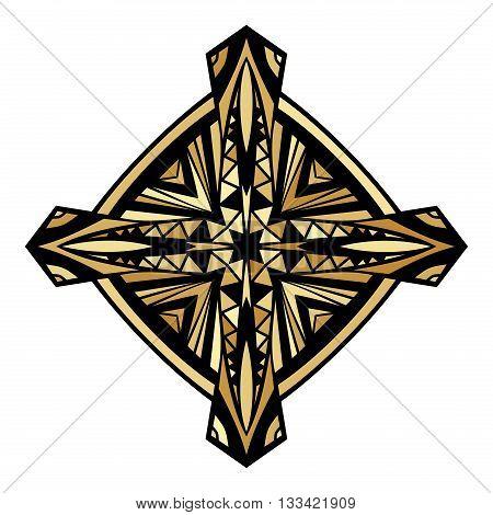 Golden Celtic Cross. Gold gamut decorative icon. Ornate symbol ethnic pattern. Tribal ornament for tattoo or brand. Isolated design element. Vector illustration.