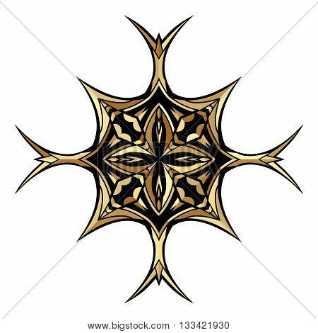 Golden ancient cross. Gold gamut decorative icon. Ornate symbol ethnic pattern. Tribal ornament for tattoo or brand. Isolated design element. Vector illustration.