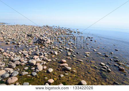 Ladoga lake at sunny morning the Karelian Isthmus.