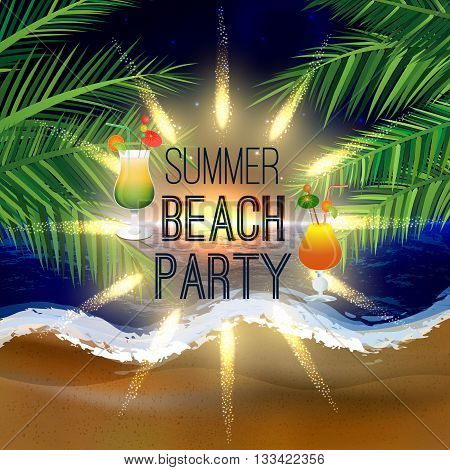 Abstract summer beach party background with palm leaves and icy cocktail glasses