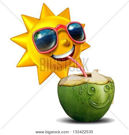 Summer refreshment icon as a happy sun character drinking a fresh cut open coconut as a summertime metaphor for vacation relaxation with 3D illustration elements.