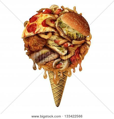 Summer junk food concept as unhealthy treats as fried snacks shaped as an icecream on a cone as a health and fitnesss metaphor for bad eating habits during the hot months with 3D illustration elements.