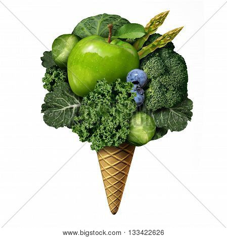 Summer healthy food concept as green fruit and vegetable treats as nutritious snacks shaped as an icecream on a cone as a health and fitnesss metaphor for good eating habits during the hot days with 3D illustration elements.