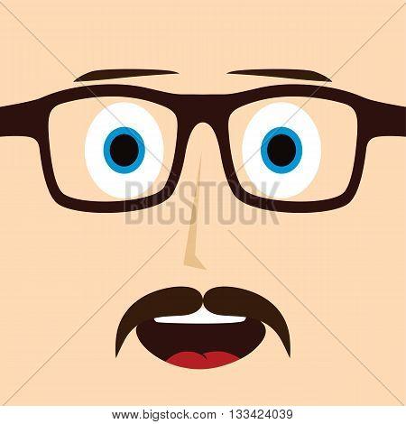 Geek Mustache Guy Cartoon Character