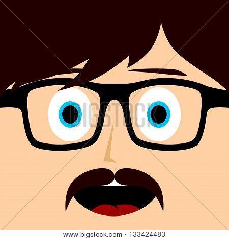 geek mustache guy cartoon character vector art illustration
