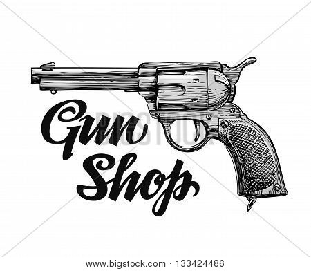 Hand-drawn retro vector Firearm. Antique arms. Gun shop