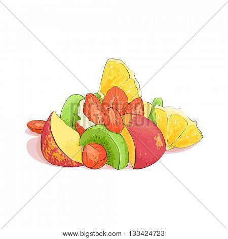 Mixed fruit salad on white background
