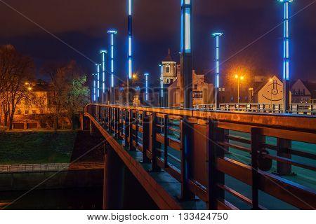 Vytautas the Great or Aleksotas Bridge in Kaunas, Lithuania at night