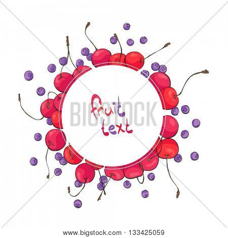 Ripe berries with text holder on white bakcground
