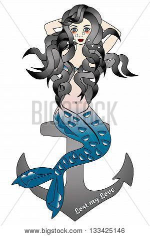 Illustration of crying beautiful mermaid lost love