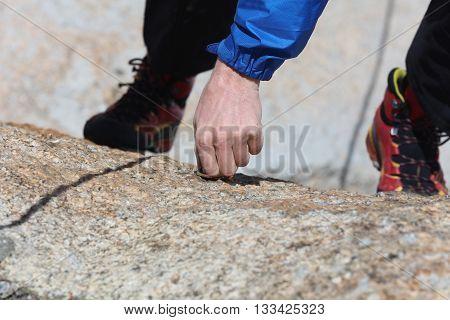 Man climbing in the European Alps. France
