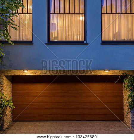 Wooden Door To The Garage