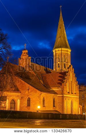 Kaunas, Lithuania: Vytautas' the Great Church of the Assumption of The Holy Virgin Mary at night
