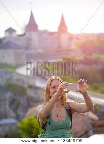 Girl Makes A Selfie.